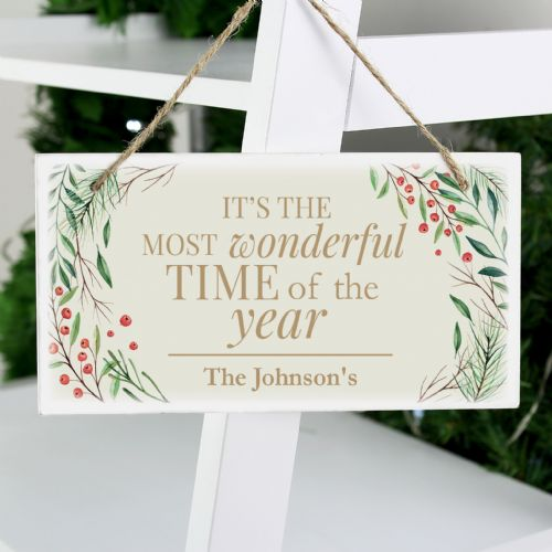 Personalised 'Wonderful Time of The Year' Christmas Wooden Sign